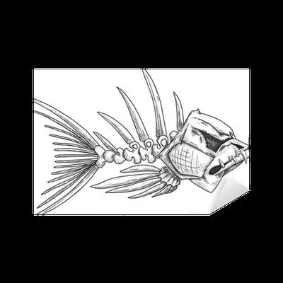 Sticker croquis de poisson squelette mal aux dents ac r es - Croquis poisson ...