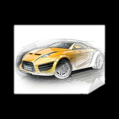 Sticker croquis de voiture concept pixers nous vivons pour changer - Croquis voiture ...