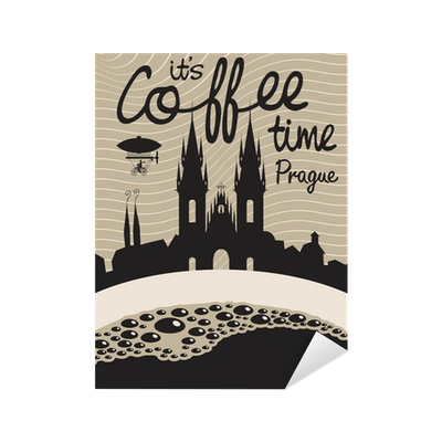 Drawing with a cup of coffee on a background of prague sticker • pixers • we live to change