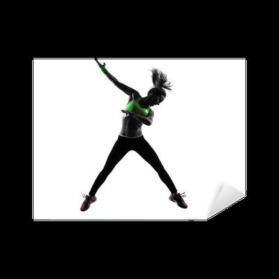 Sticker Femme exerçant Zumba Fitness silhouette de saut de danse • Pixers®  - Nous vivons pour changer 89dfe916b25