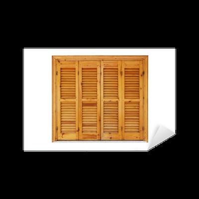 sticker fen tre en bois avec volets ferm s isol sur blanc pixers nous vivons pour changer. Black Bedroom Furniture Sets. Home Design Ideas