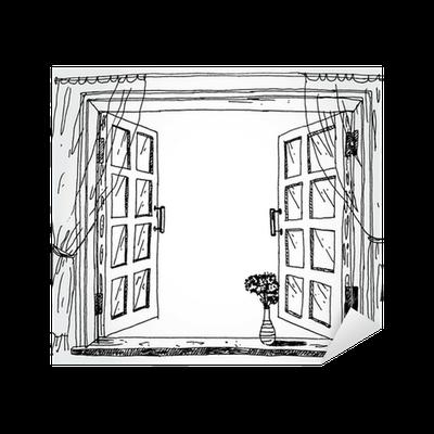 sticker fen tre ouverte pixers nous vivons pour changer. Black Bedroom Furniture Sets. Home Design Ideas
