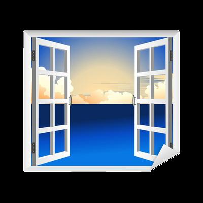 sticker finestra sul mare fen tre sur mer vectorielle pixers nous vivons pour changer. Black Bedroom Furniture Sets. Home Design Ideas