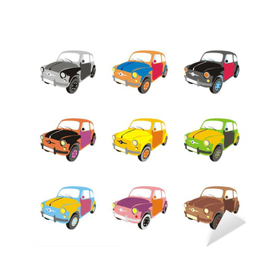 fully editable vector isolated funny colored cars Sticker • Pixers® • We  live to change
