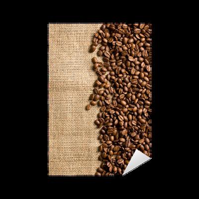 Sticker grains de caf sur le sac pixers nous vivons - Sac de cafe en grain ...
