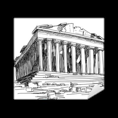 Sticker Grece Parthenon Sketch Pixers Nous Vivons Pour Changer