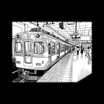 sticker japon m tro quai de la gare de train osaka dessin croquis d 39 encre s pixers nous. Black Bedroom Furniture Sets. Home Design Ideas