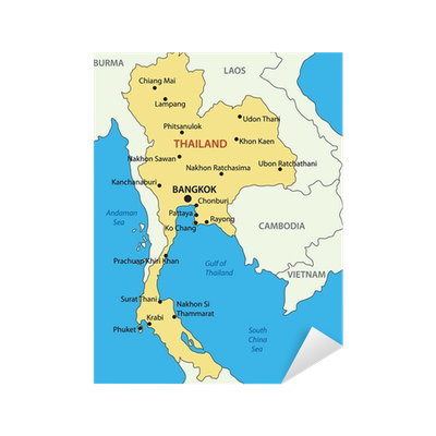 Kingdom of Thailand - vector map Sticker • Pixers® • We live to change