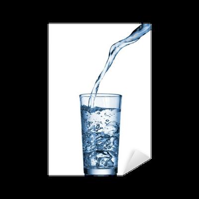 sticker l 39 eau qui coule dans le verre isol sur blanc pixers nous vivons pour changer. Black Bedroom Furniture Sets. Home Design Ideas