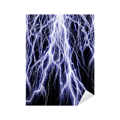 Lightning flash on black background Sticker • Pixers® - We live to change