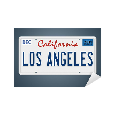 sticker los angeles ca plaque d 39 immatriculation pixers nous vivons pour changer. Black Bedroom Furniture Sets. Home Design Ideas