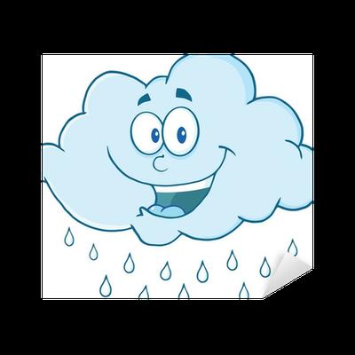 Sticker Mascotte de dessin animé heureux nuage de pluie ...