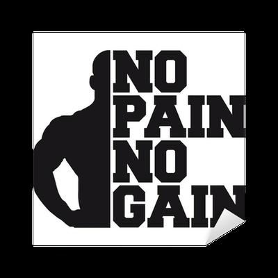No Pain No Gain Bodybuilding Logo Design Sticker Pixers
