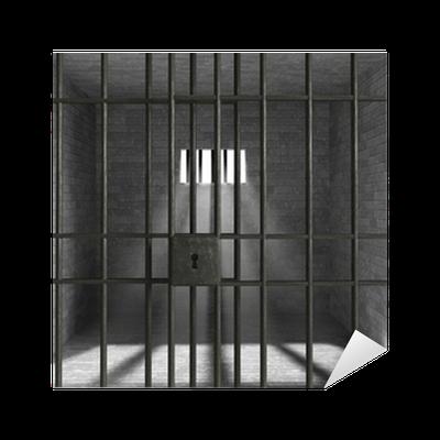 Old Grunge Prison seen through Jail Bars Sticker • Pixers ...