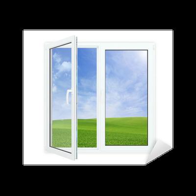 sticker ouvrir la fen tre avec vue pittoresque de ciel bleu pixers nous vivons pour changer. Black Bedroom Furniture Sets. Home Design Ideas