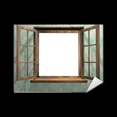 sticker ouvrir la fen tre en bois pixers nous vivons pour changer. Black Bedroom Furniture Sets. Home Design Ideas