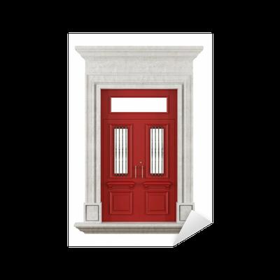 Sticker portail en pierre avec porte d 39 entr e rouge pixers nous vivons pour changer - Stickers pour porte d entree ...