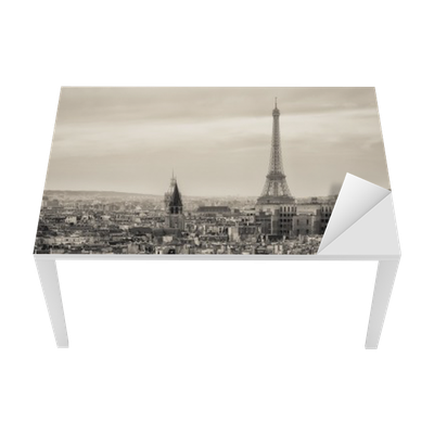 sticker pour table et bureau vue de paris et de la tour. Black Bedroom Furniture Sets. Home Design Ideas