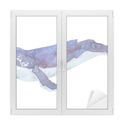 sticker pour vitres et fen tres aquarelle baleine pixers nous vivons pour changer. Black Bedroom Furniture Sets. Home Design Ideas