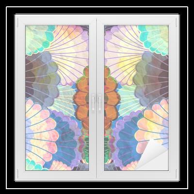 sticker pour vitres et fen tres aquarelle l ments abstraits multicolores pixers nous. Black Bedroom Furniture Sets. Home Design Ideas