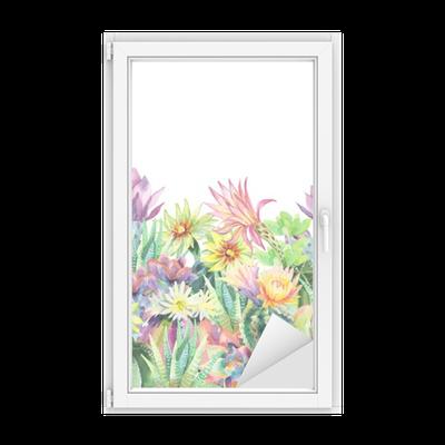 sticker pour vitres et fen tres aquarelle floraison cactus fond pixers nous vivons pour changer. Black Bedroom Furniture Sets. Home Design Ideas