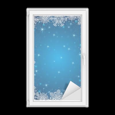 sticker vitre fond bleu avec cadre de flocons de neige vecteur pixers nous vivons pour changer. Black Bedroom Furniture Sets. Home Design Ideas