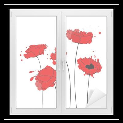 sticker pour vitres et fen tres pavots pixers nous vivons pour changer. Black Bedroom Furniture Sets. Home Design Ideas