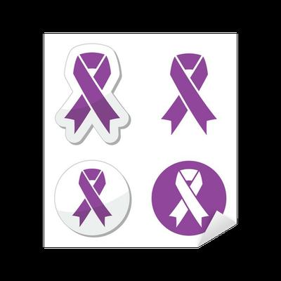Purple Ribbon Pancreatic Cancer Testicular Cancer Symbol Sticker