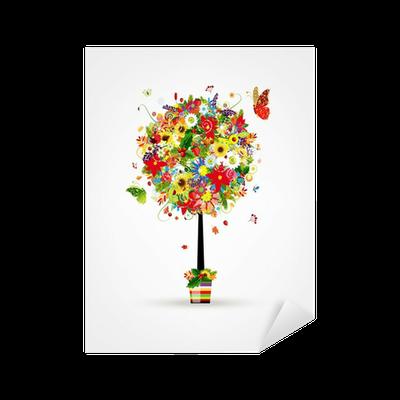 sticker quatre saisons concept art arbre en pot pour votre conception pixers nous vivons. Black Bedroom Furniture Sets. Home Design Ideas