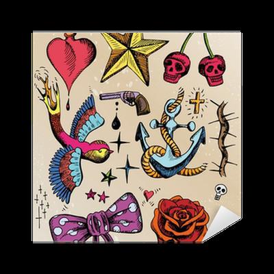 rockabilly tattoo vorlagen farbig sticker pixers we. Black Bedroom Furniture Sets. Home Design Ideas
