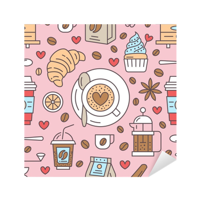 Seamless Pattern Of Coffee Vector Background Cute Beverages Hot Drinks Colored Flat Line Icons