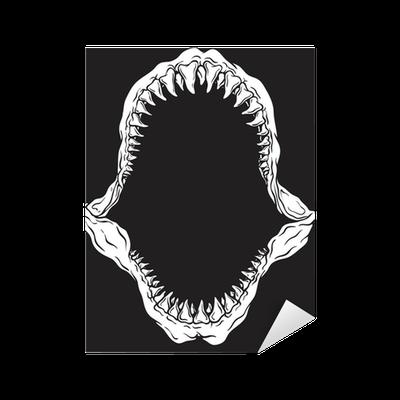shark jaw isolated vector illustration sticker � pixers