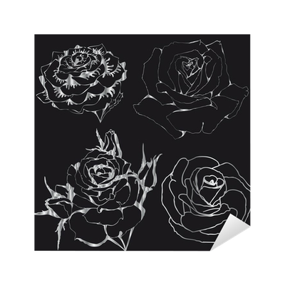 Silver Roses Silhouettes Of Flowers On A Black Background Sticker O PixersR We Live To Change