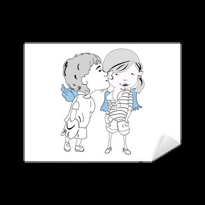 Sketch Of Cartoon Kids Kissing Sticker Pixers We Live To Change