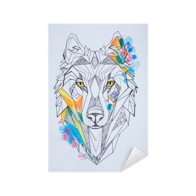 Sketch Of Wolf Against White Background Geometrical Drawing Of A Wolf S Head Sticker Pixers We Live To Change