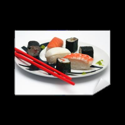 Sushi Su Piatto Tondo E Sfondo Bianco Sticker Pixers We Live To