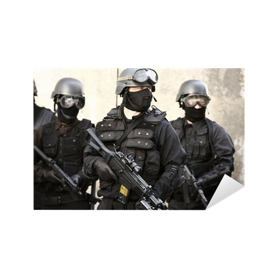 SWAT officer in full tactical gear. Sticker • Pixers® • We live to ...