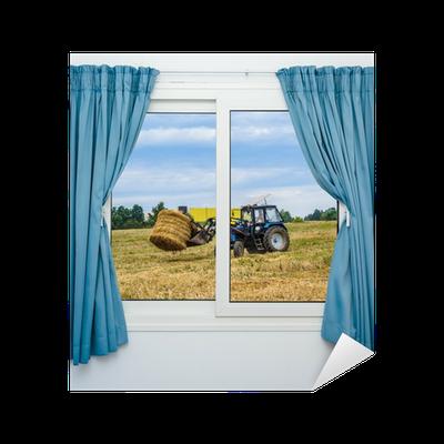 sticker tracteur foin supprime la vue de la fen tre avec des rideaux pixers nous vivons. Black Bedroom Furniture Sets. Home Design Ideas