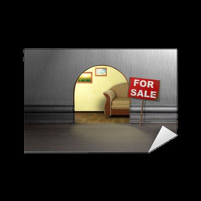 sticker trou de souris dans le mur avec le signe la vente maison vente notion pixers. Black Bedroom Furniture Sets. Home Design Ideas