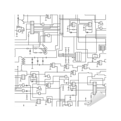 vector seamless electrical circuit diagram pattern Sticker