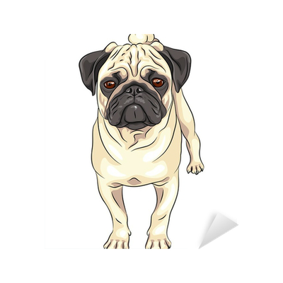 Vector Sketch Cute Dog Pug Breed Sticker Pixers We Live To Change