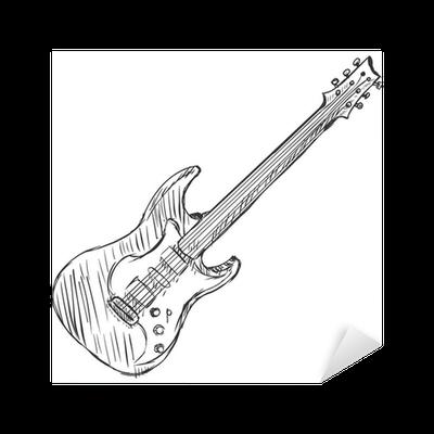 Vector Sketch Electric Guitar Sticker Pixers We Live To Change