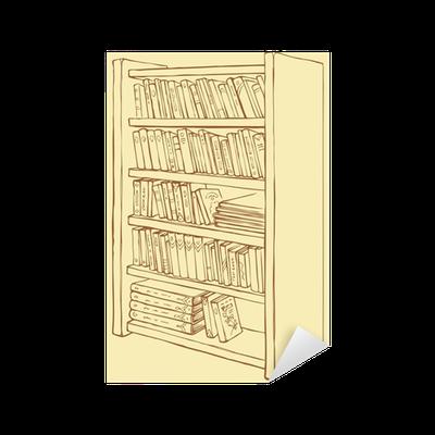 Sticker Vector tekening. Boekenkast met verschillende boeken ...