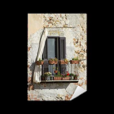 sticker vieille fen tre siclian pixers nous vivons pour changer. Black Bedroom Furniture Sets. Home Design Ideas