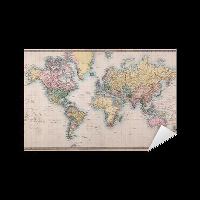 sticker vieux carte antique du monde sur la projection de. Black Bedroom Furniture Sets. Home Design Ideas