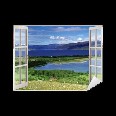sticker vue de la fen tre ouverte au paysage avec la rivi re les collines et les champs. Black Bedroom Furniture Sets. Home Design Ideas