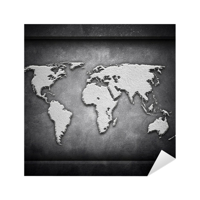 World map on concrete wall sticker pixers we live to change gumiabroncs Images