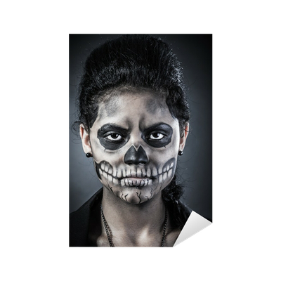 Young woman in day of the dead mask skull. Halloween face art Sticker •  Pixers® • We live to change