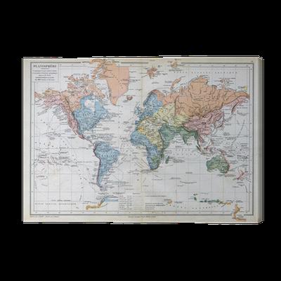 tableau sur toile ancienne carte de 1883 la carte du. Black Bedroom Furniture Sets. Home Design Ideas