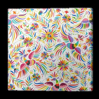 tableau sur toile broderie mexicaine seamless motif ethnique color et fleuri les oiseaux et. Black Bedroom Furniture Sets. Home Design Ideas
